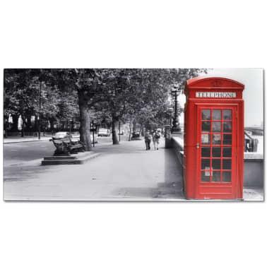 wohnzimmertisch mit rotem telefonzellen print glasplatte. Black Bedroom Furniture Sets. Home Design Ideas