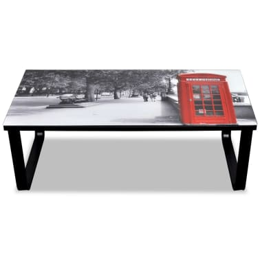 vidaXL Coffee Table with Telephone Booth Printing Glass Top[4/7]