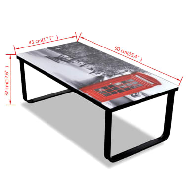 vidaXL Coffee Table with Telephone Booth Printing Glass Top[7/7]