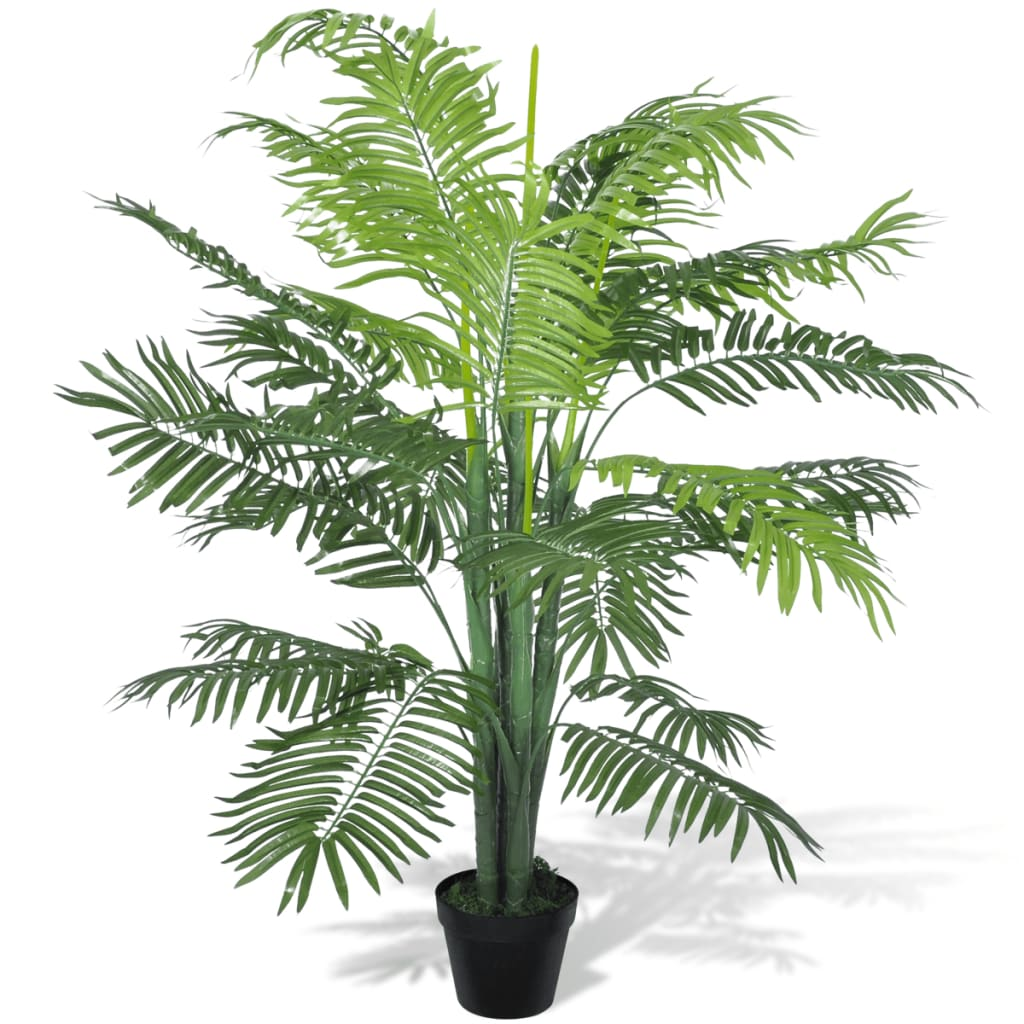 Palmier Phoenix artificial cu aspect natural și ghiveci, 130 cm imagine vidaxl.ro