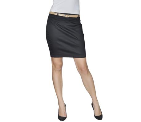 Mini falda con cinturón, Talla 34, Negro