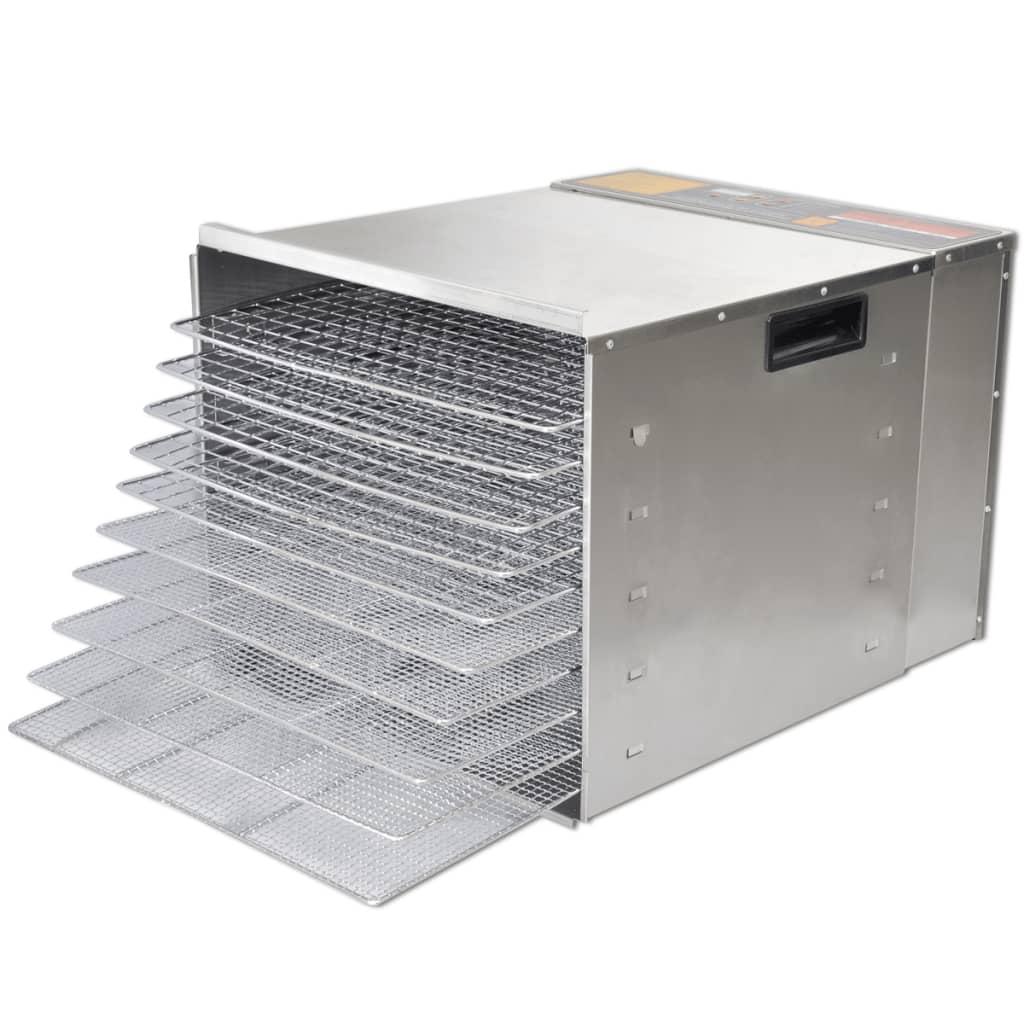 Afbeelding van vidaXL Voedseldroger met 10 stapelbare lades (roestvrij staal)