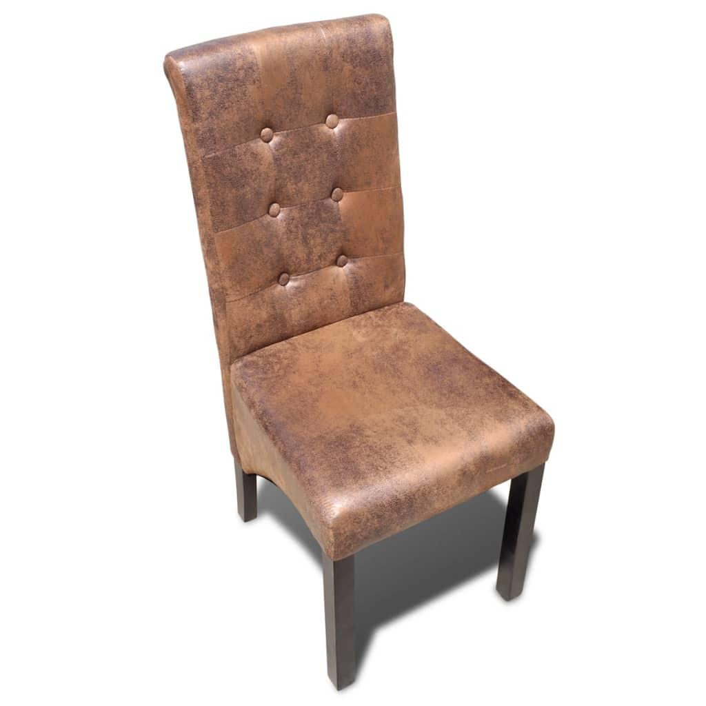 Stoelen vidaXL Eetkamerstoelen gecapitonneerd bruin 4 st met veel voordeel Eetkamerstoelen