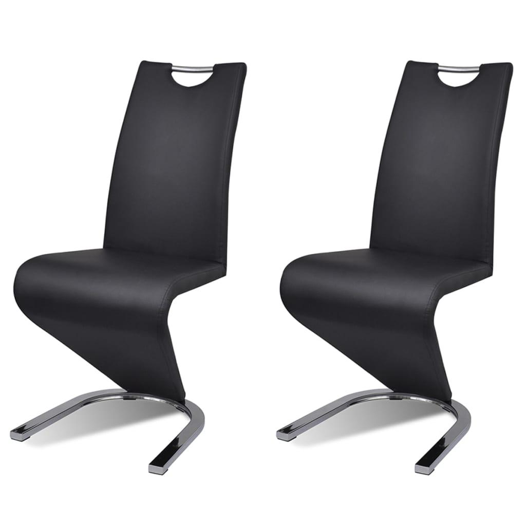 """vidaXL Καρέκλες Τραπεζαρίας """"Πρόβολος"""" 2 τεμ. Μαύρες από Δερματίνη"""