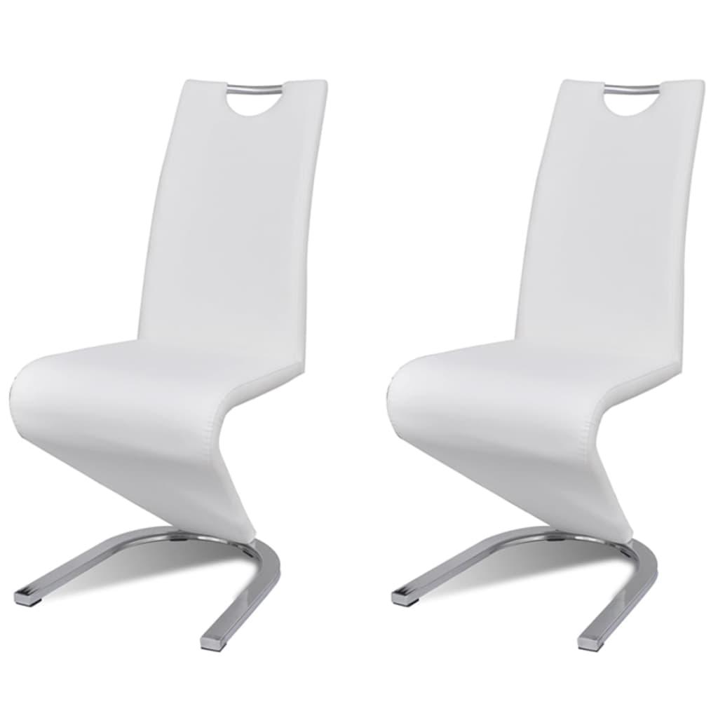 """vidaXL Καρέκλες Τραπεζαρίας """"Πρόβολος"""" 2 τεμ. Λευκές από Δερματίνη"""