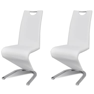 vidaXL Dining Chairs 2 pcs White Faux Leather[2/8]