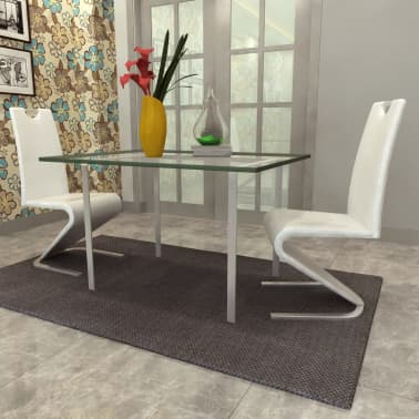 vidaXL Dining Chairs 2 pcs White Faux Leather[3/8]