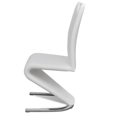 vidaXL Dining Chairs 2 pcs White Faux Leather[6/8]