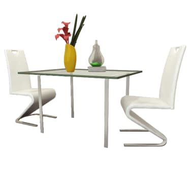vidaXL Dining Chairs 2 pcs White Faux Leather[1/8]