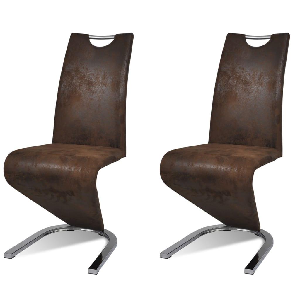 vidaXL Καρέκλες Τραπεζαρίας «Πρόβολος» 2 τεμ. Καφέ από Συνθετικό Δέρμα
