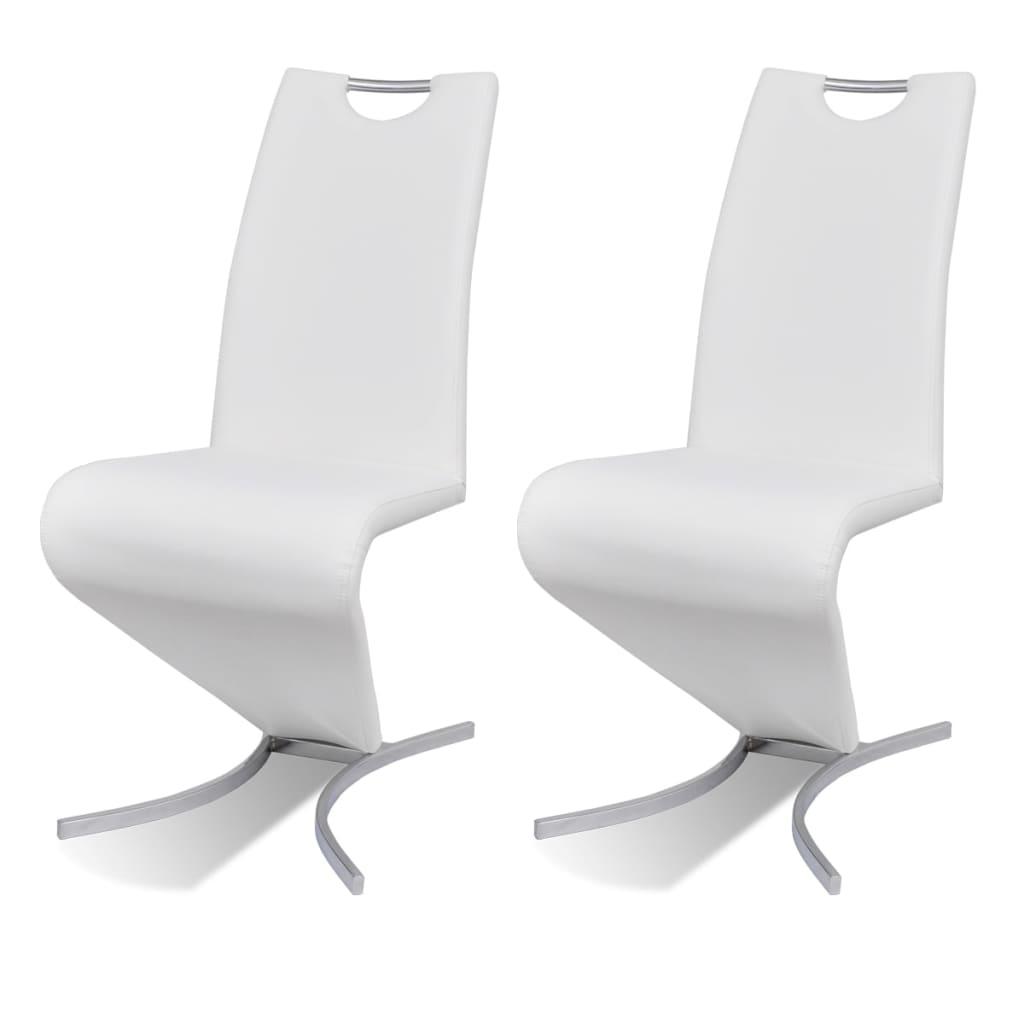 vidaXL Καρέκλες Τραπεζαρίας «Πρόβολος» 2 τεμ. Λευκές από Δερματίνη