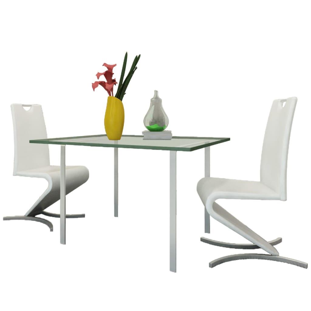 vidaXL Konzolové jídelní židle, 2 ks, ve tvaru H, umělá kůže, bílá