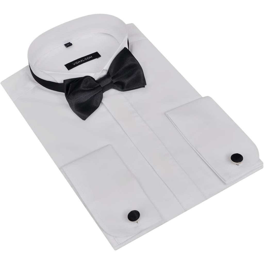 Pánská smokingová košile, manžetové knoflíčky a motýlek, vel. S, bílá