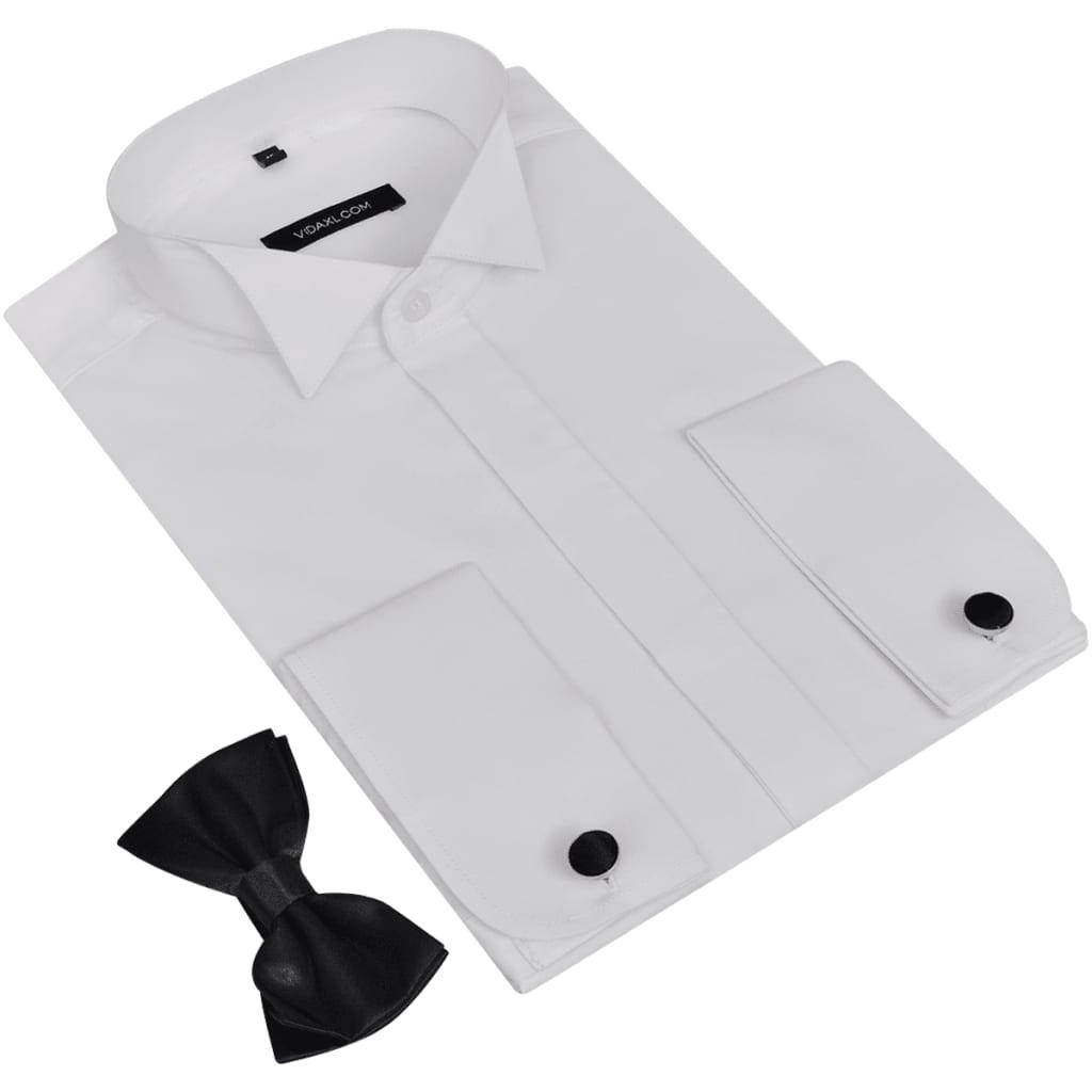 99130265 Smokinghemd Herrenhemd Weiß mit Manschettenknöpfen und Fliege Größe S