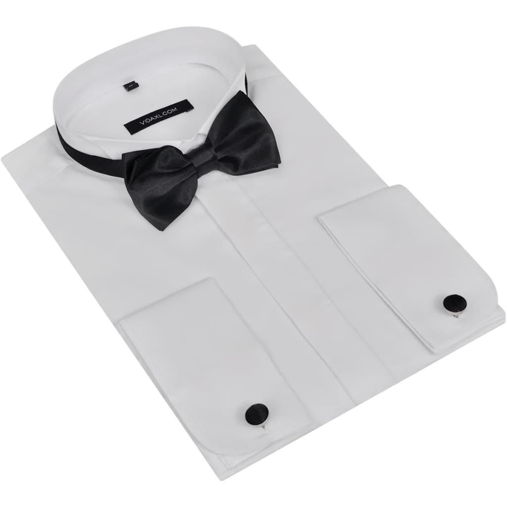 Pánská smokingová košile, manžetové knoflíčky a motýlek, vel. M, bílá