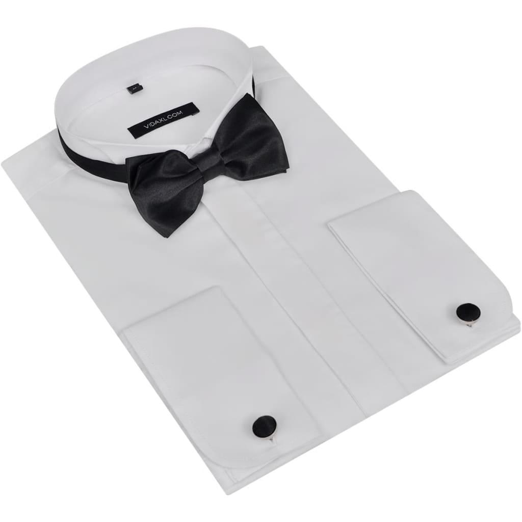 Cămașă smoching bărbați cu butoni și papion, mărimea L, alb poza vidaxl.ro