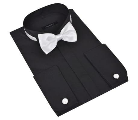 Cămașă smoching pentru bărbați, cu butoni și papion, mărime S, negru