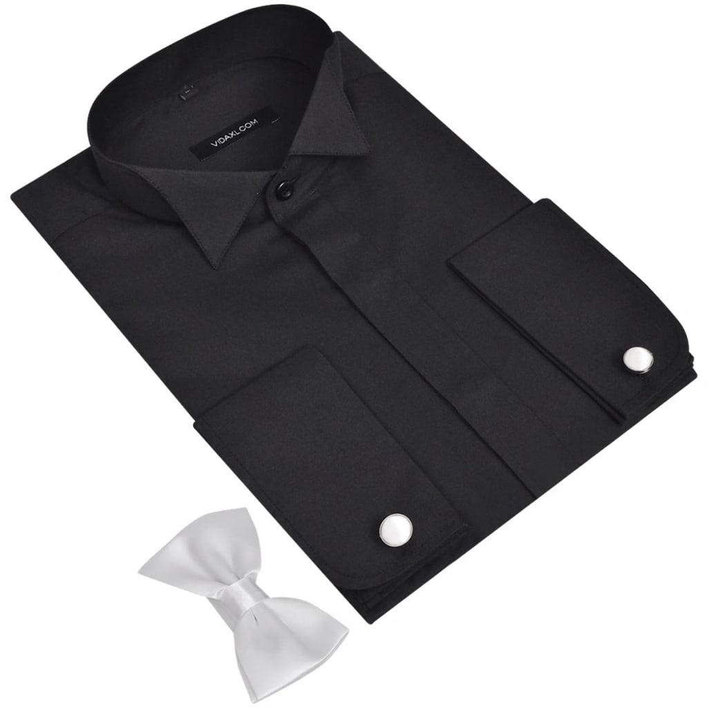Pánská smokingová košile, manžetové knoflíčky a motýlek, vel. S, černá