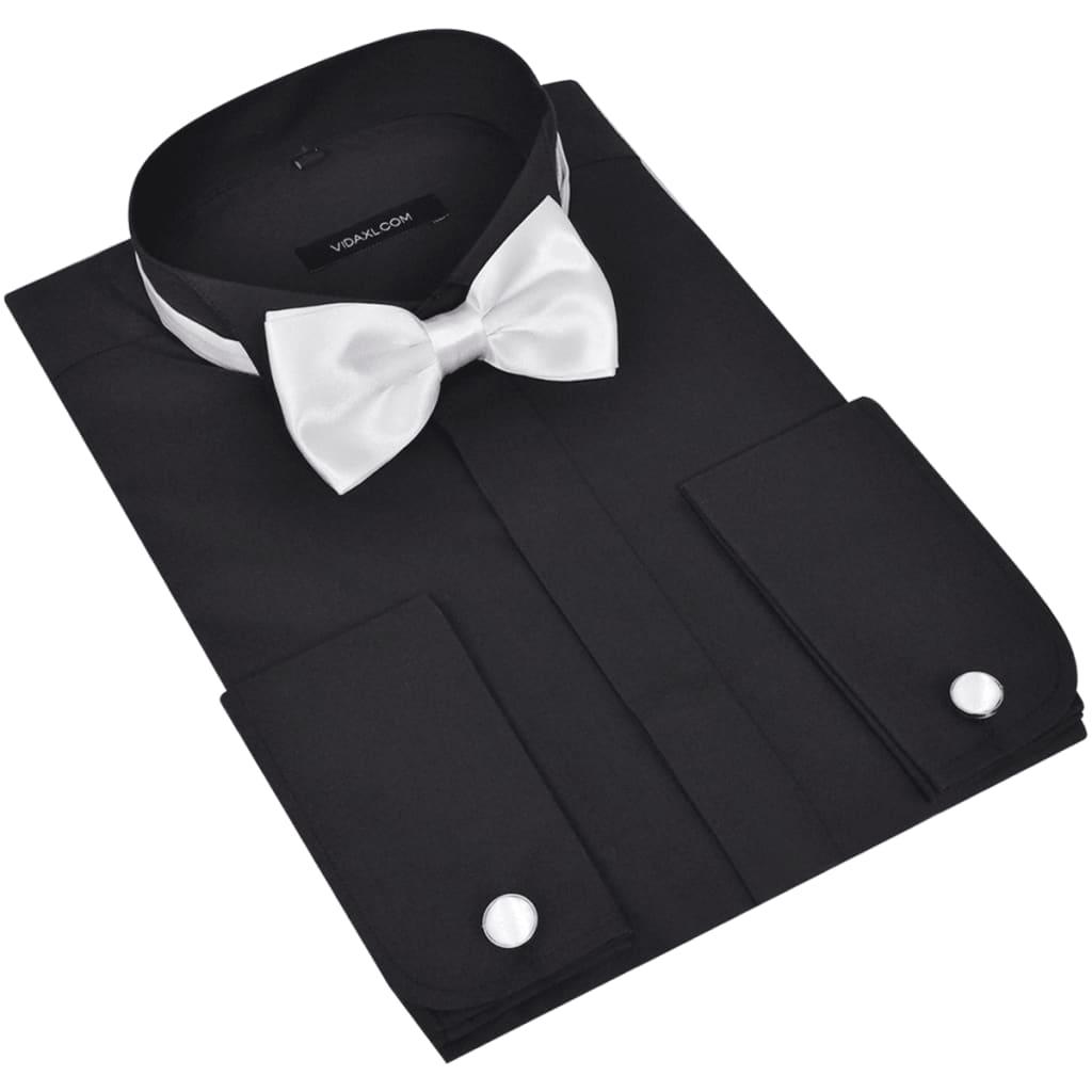 Pánská smokingová košile, manžetové knoflíčky a motýlek, vel. L, černá