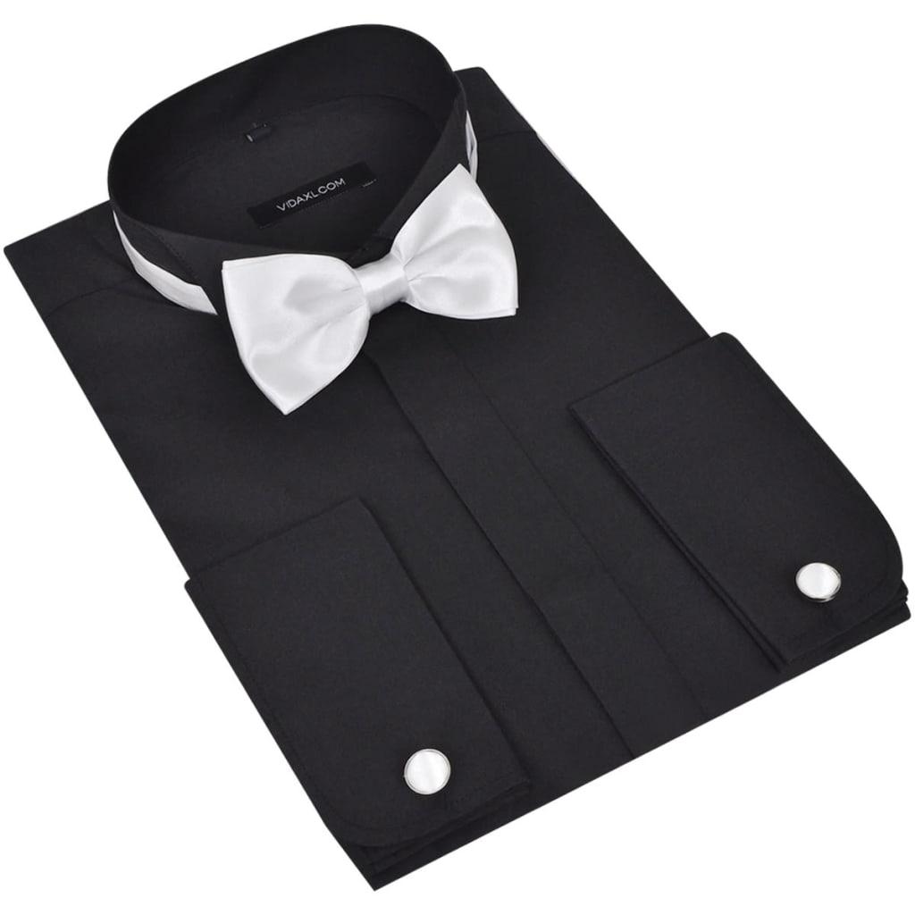 Pánská smokingová košile, manžetové knoflíčky a motýlek, vel. XL černá