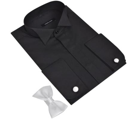 Heren Overhemd Met Manchetknopen.Smoking Overhemd Heren Met Manchetknopen En Vlinderdas Maat Xl Zwart