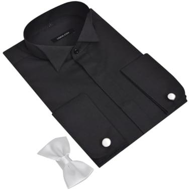 vidaXL Smokingskjorte med mansjettknapper og sløyfe herre XL svart[2/4]