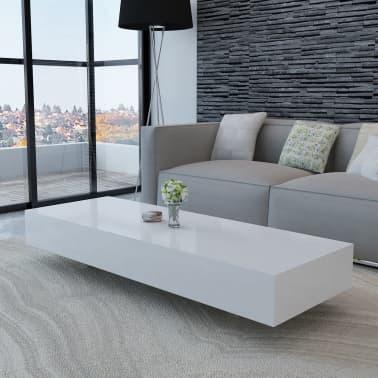 Table basse laquée haute brillance Blanc 115 cm[1/5]