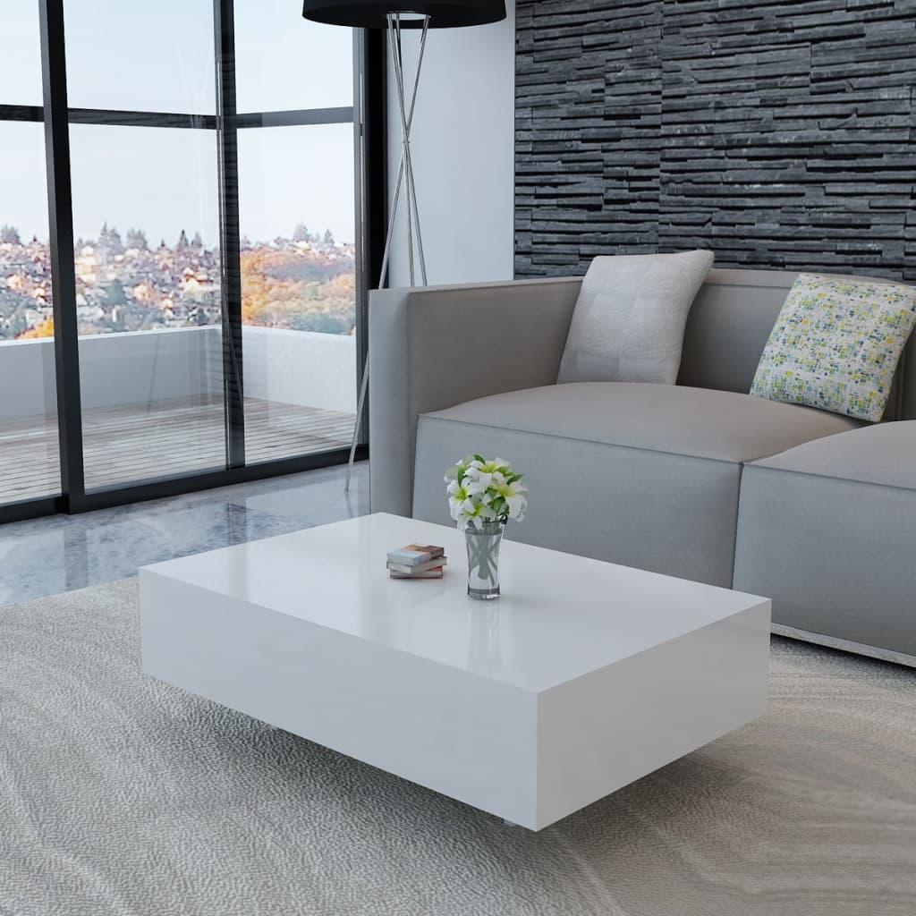 Bílý konferenční stolek s vysokým leskem 85 cm