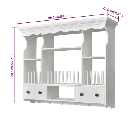 vidaXL Wooden Kitchen Wall Cabinet White[8/8]