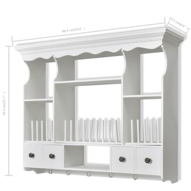 vidaXL Wooden Kitchen Wall Cabinet White[8/8]