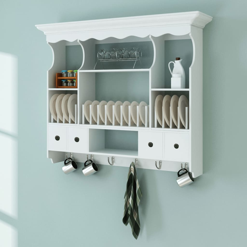 Kitchen Cabinets Plate Rack: Wall Dish Rack White Wooden Kitchen Display Cabinet