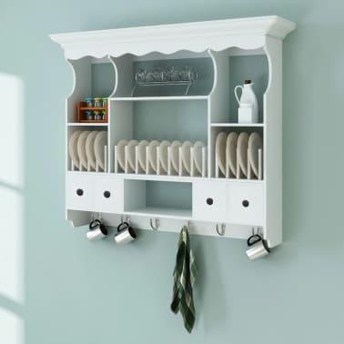vidaXL Wooden Kitchen Wall Cabinet White[1/8]