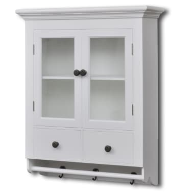 vidaXL Wooden Kitchen Wall Cabinet with Glass Door White[1/8]