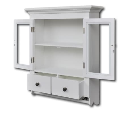 vidaXL Wooden Kitchen Wall Cabinet with Glass Door White[3/8]