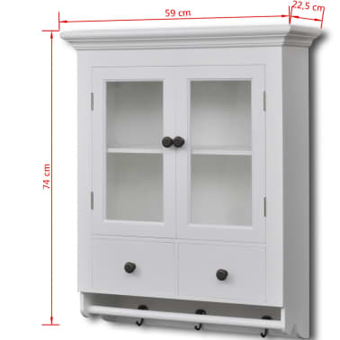 vidaXL Wooden Kitchen Wall Cabinet with Glass Door White[8/8]