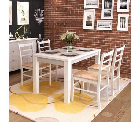 Vidaxl 4 pz sedie per sala da pranzo dipinte in legno for Sedie sala pranzo legno