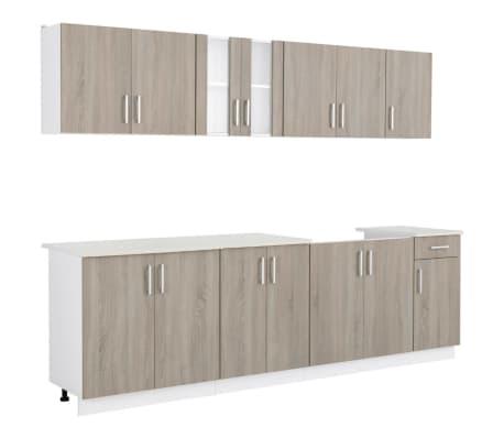 Vidaxl armadi da cucina set 8 pz con unit base per lavello quercia - Armadi da cucina ...