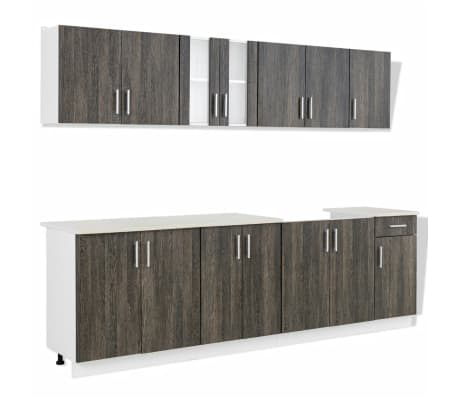 vidaXL Kitchen Cabinet with Sink Base Unit 8 Pieces Wenge Look