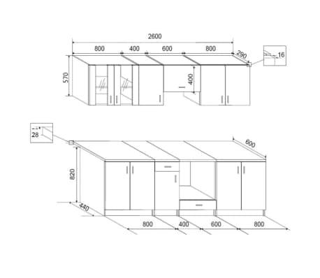 vidaXL Jeu d'armoire de cuisine 8 pcs Wengé[4/4]