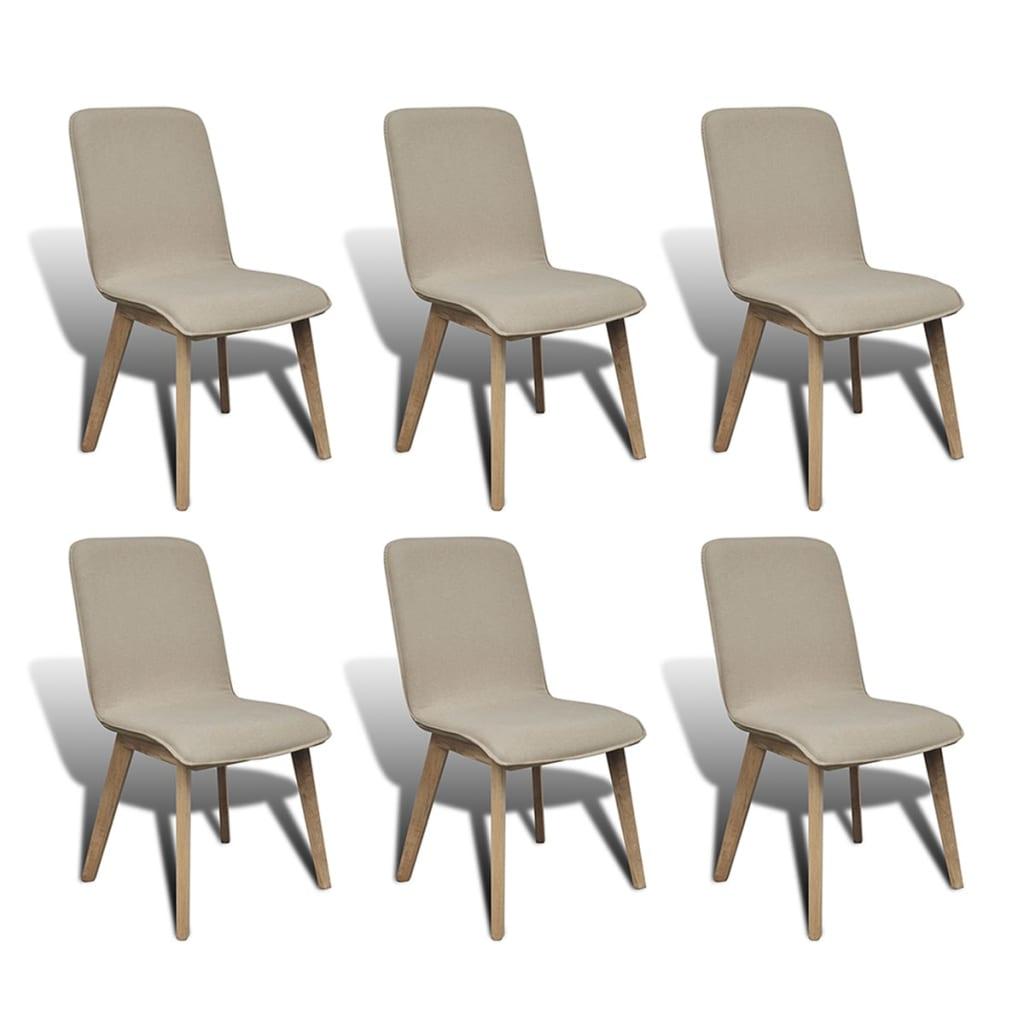 vidaXL Καρέκλες Τραπεζαρίας 6 τεμ. Μπεζ Υφασμάτινες / Μασίφ Ξύλο Δρυός