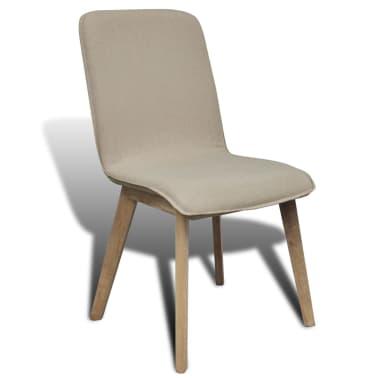 vidaxl esszimmerst hle 6 stk mit eichenrahmen stoff beige. Black Bedroom Furniture Sets. Home Design Ideas