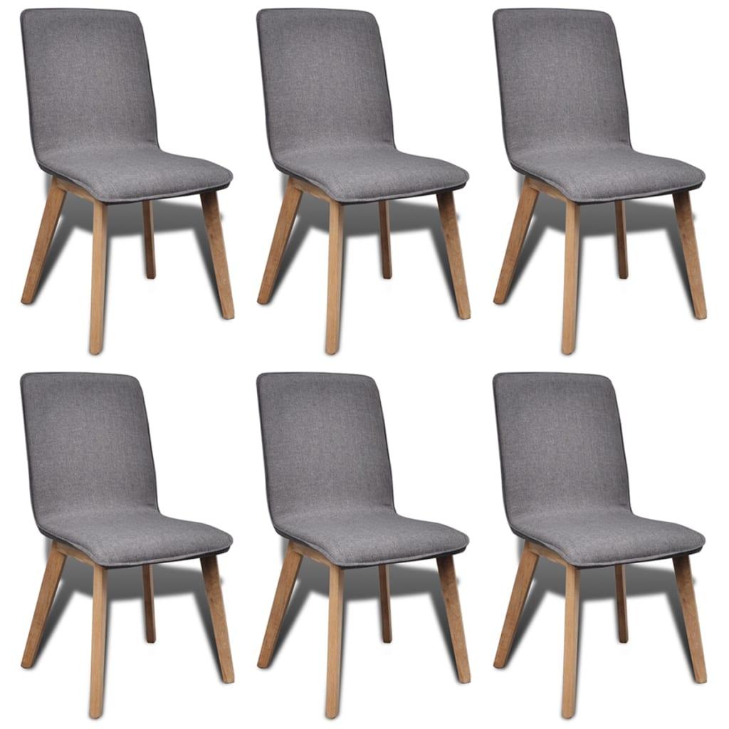 vidaXL Καρέκλες Τραπεζαρίας 6 τεμ Ανοιχτό Γκρι Ύφασμα/Μασίφ Ξύλο Δρυός