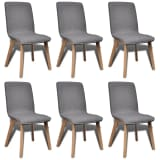 vidaXL Blagovaonske stolice tkanina i hrastovina 6 kom svijetlo sive