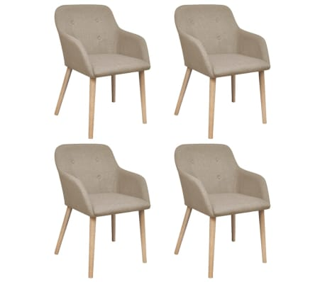 vidaXL Dining Chairs 4 pcs with Oak Frame Beige Fabric and Solid Oak Wood
