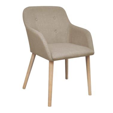 vidaXL 4 pcs Chaises de salle à manger Beige Tissu et chêne massif[2/6]