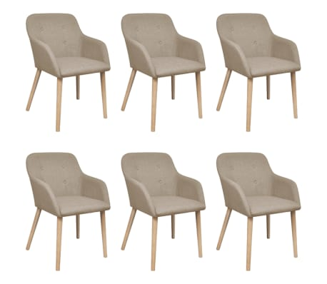 vidaXL Dining Chairs 6 pcs Beige Fabric and Solid Oak Wood