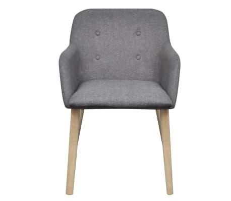 Vidaxl sillas de comedor 4 uds de madera de roble con tela gris oscura - Vidaxl sillas ...