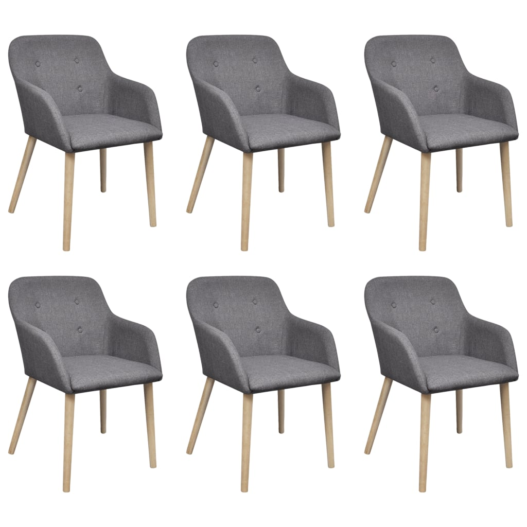 vidaXL Oak Indoor Fabric Dining Chair Set 6 pcs with Armrest Dark Grey