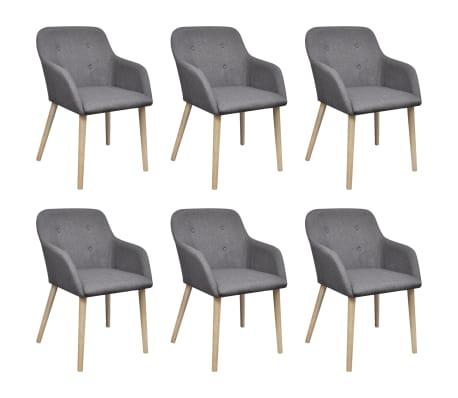 vidaxl esszimmerst hle 6 stk mit eichenrahmen stoff dunkelgrau g nstig kaufen. Black Bedroom Furniture Sets. Home Design Ideas
