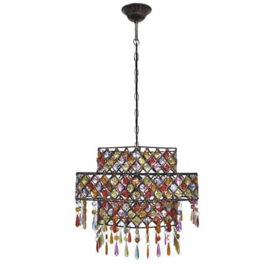 Multicolour Polygonal Metal Pendant Lamp With Crystal